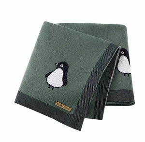 Baby Blanket - Baby Forest Green Penguin