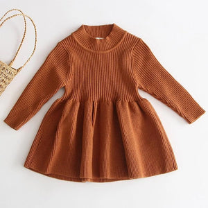 Ribbed Knit Dress - Beige - Little Boo Store