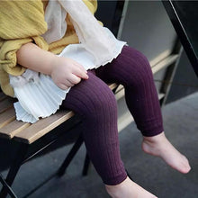 Load image into Gallery viewer, Ribbed Knit Tights - Plum - Little Boo Store