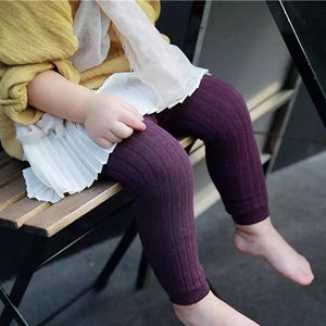 Ribbed Knit Tights - Plum - Little Boo Store