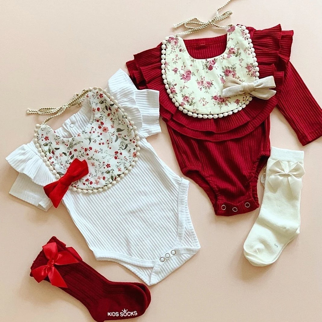 Ruffles Ribbed Bodysuit - Wine - Little Boo Store