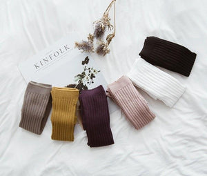 Ribbed Knit Tights - Mustard - Little Boo Store