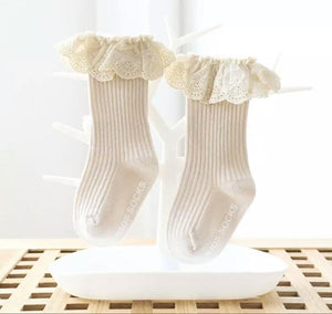 Lace Ribbed Knee Sock