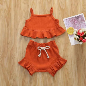Ruffle Crop Top Ribbed Set