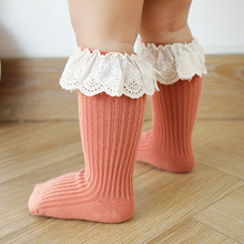 Load image into Gallery viewer, Lace Ribbed Knee Sock
