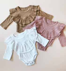 Ruffles Ribbed Bodysuit - Pink - Little Boo Store