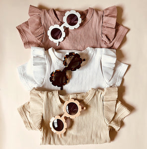 Ruffles Short Sleeve Bodysuit - Oatmeal - Little Boo Store