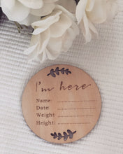 Load image into Gallery viewer, 'I'm here' wooden announcement plaque - Little Boo Store