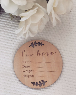 'I'm here' wooden announcement plaque - Little Boo Store