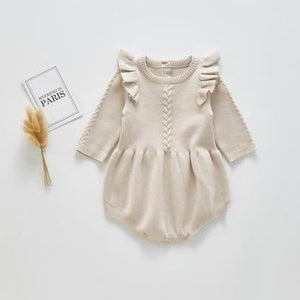 Knitted Braided Flutter Romper