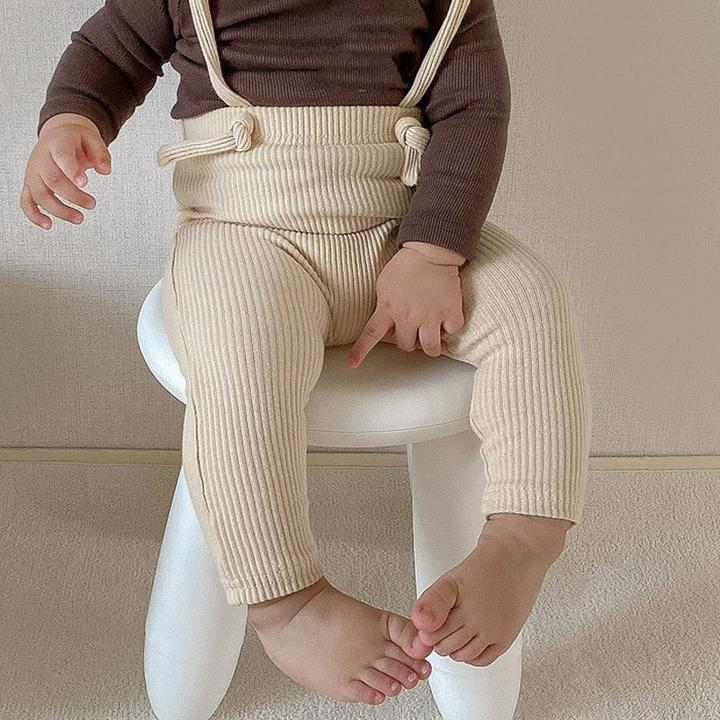 Suspender Ribbed Leggings | Oatmeal