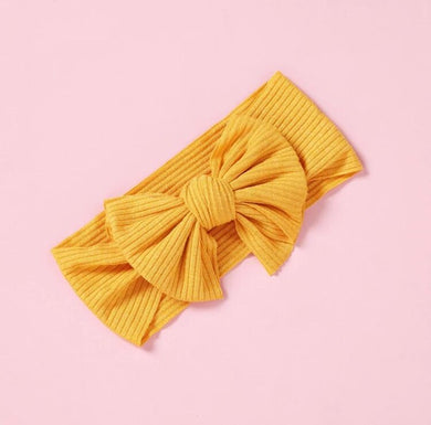 Ribbed Bow Headband - Sunshine