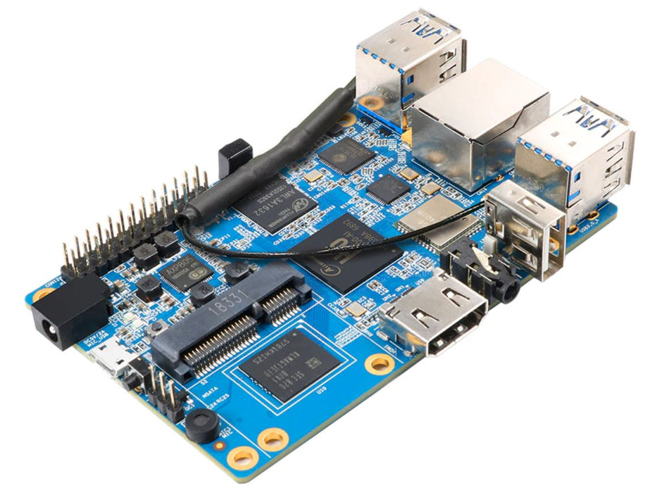 Orange Pi 3 med 2 GB RAM och 8 GB eMMC Flash