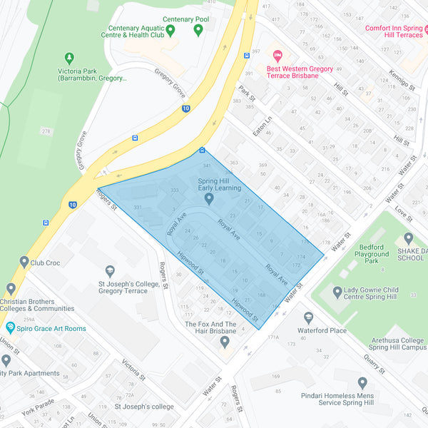 Google map showing the present day location of College Hill Estate