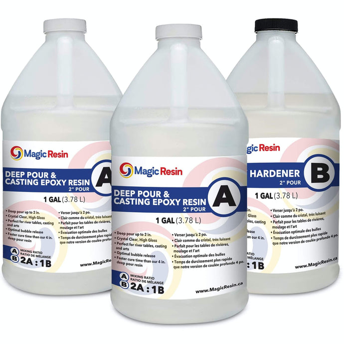 3 Gallon (11.4 L) | 2'' Deep Pour & Casting Resin | Clear Epoxy Resin Kit | Free Express Shipping
