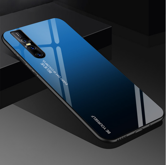 Vivo V15 Pro Luxury Aura Gradient Toughened Glass Back Silicone Cover