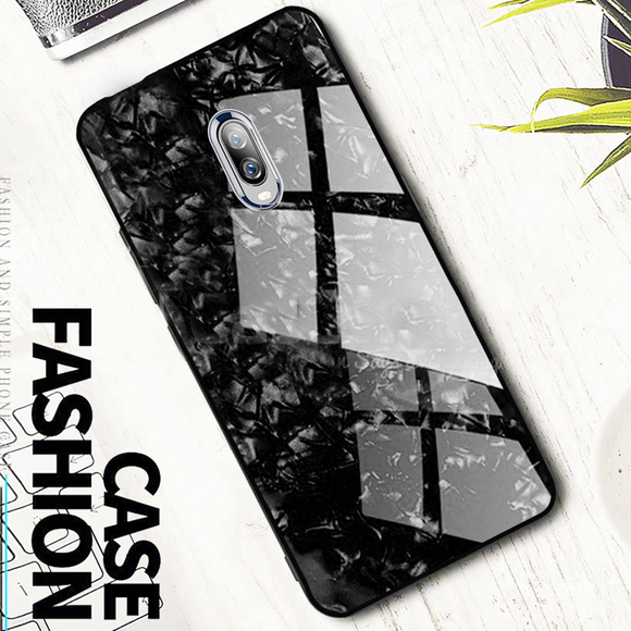 OnePlus 6T Marble Pattern Glass Back Silicone Cover