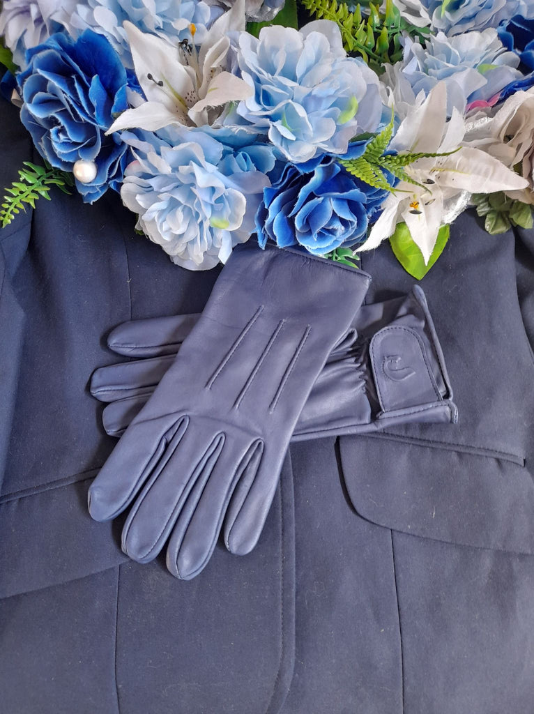 Adult Royal Blue Genuine Leather Gloves