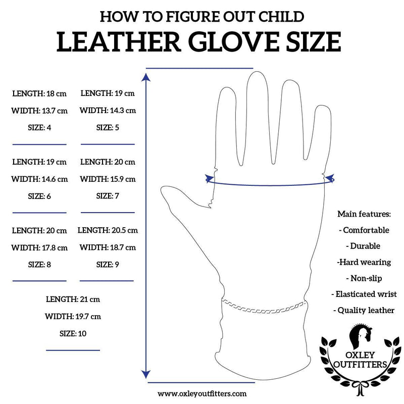 Junior Black Genuine Leather Gloves