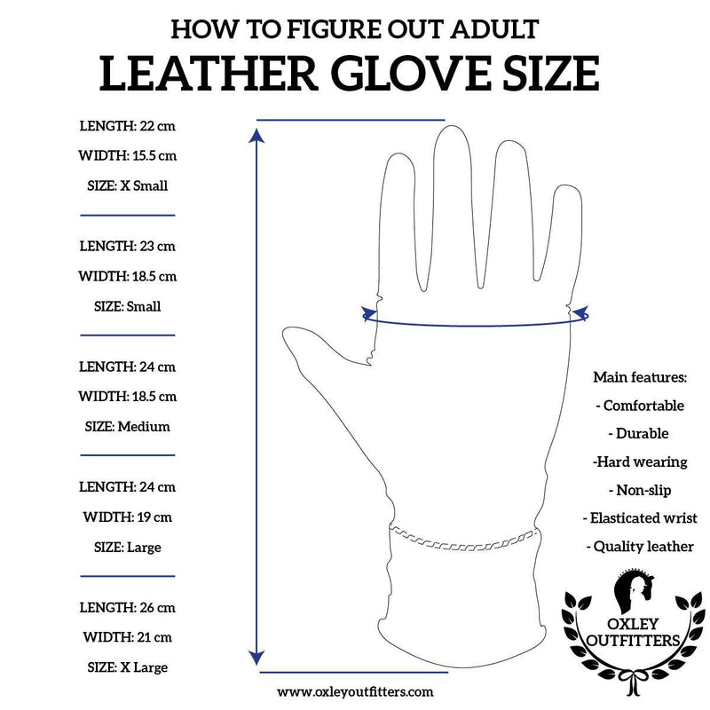 Adult Black Genuine Leather Gloves