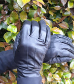 Adult Navy Blue Genuine Leather Gloves