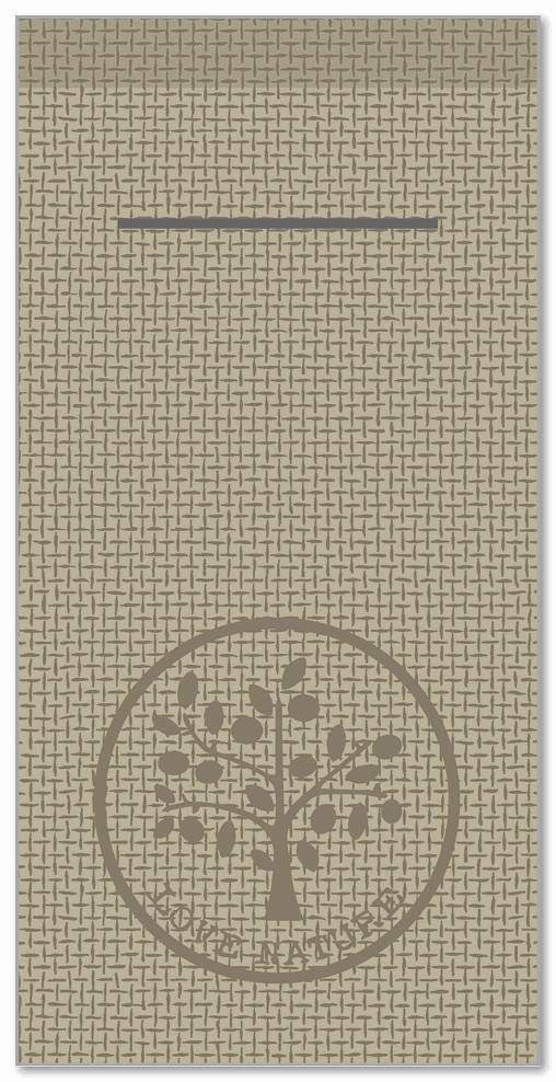 Besteckservietten 400x400mm 1/8 Falz, Love Nature/Jute  (beige grey), 300 St.