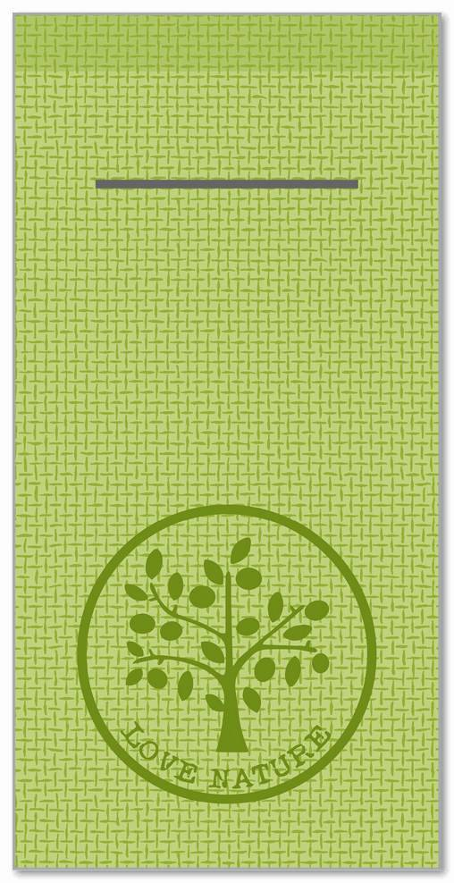 Besteckservietten 400x400mm 1/8 Falz, Love Nature/Jute  (oliv), 300 St.