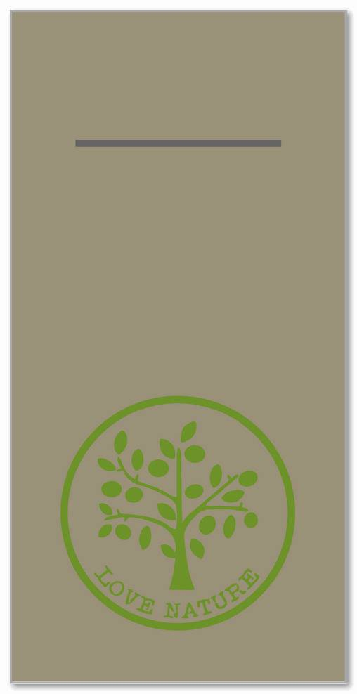 Besteckservietten 400x400mm 1/8 Falz, Love Nature  (beige grey), 300 St.