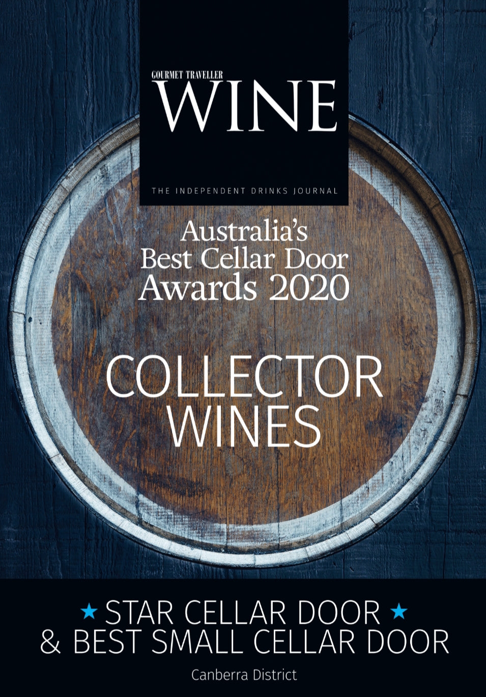 Award reads: Australia's Best Cellar Door Awards 2020 - Collector Wines - Star Cellar Door and Best Small Cellar Door