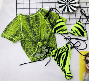 Wild life three piece bikini set - Green