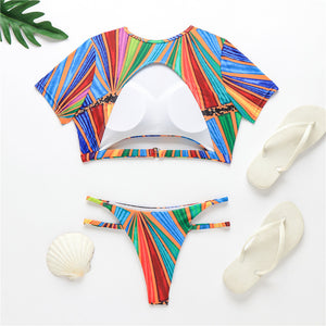 Rainbow Striped Two Piece Set