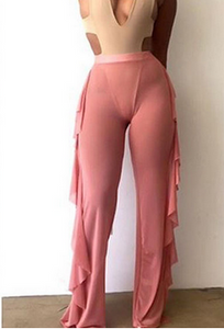 Pink Mesh Cover Up Pants Ruffle Sides