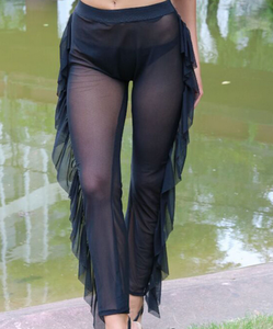 Black Mesh Cover Up Pants