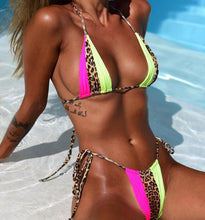 Load image into Gallery viewer, Trio Colored Bikini Set Cheetah