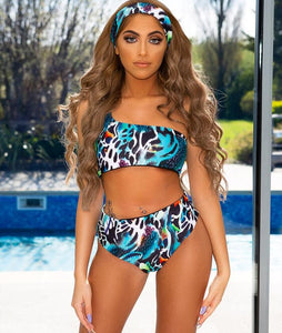 One Shoulder Three Piece Jungle Fever - (Multiple Colors)