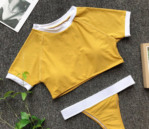 Short Sleeves Women Bikini Set - (Multiple Colors)