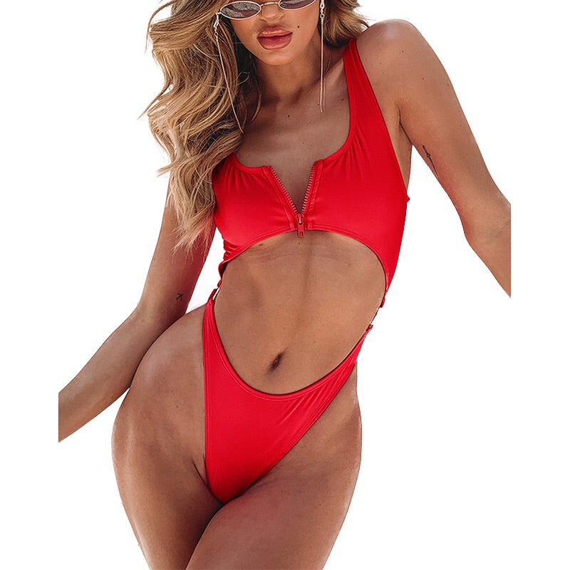 Sexy Front Zipper One-Piece