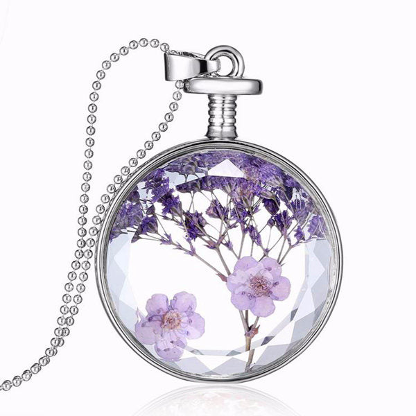 Round Glass Dry Flower Women Necklace Alloy Jewelry Christmas Gift