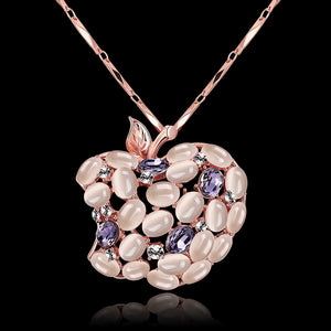 Fruit Design Zircon Faux Opal Embellished Long Necklace for Women