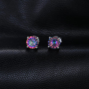 HOT SALE!!!Round Rainbow Mystic Topaz Quartz Women Earrings, 925 Sterling Silver. LIMITED!!!!