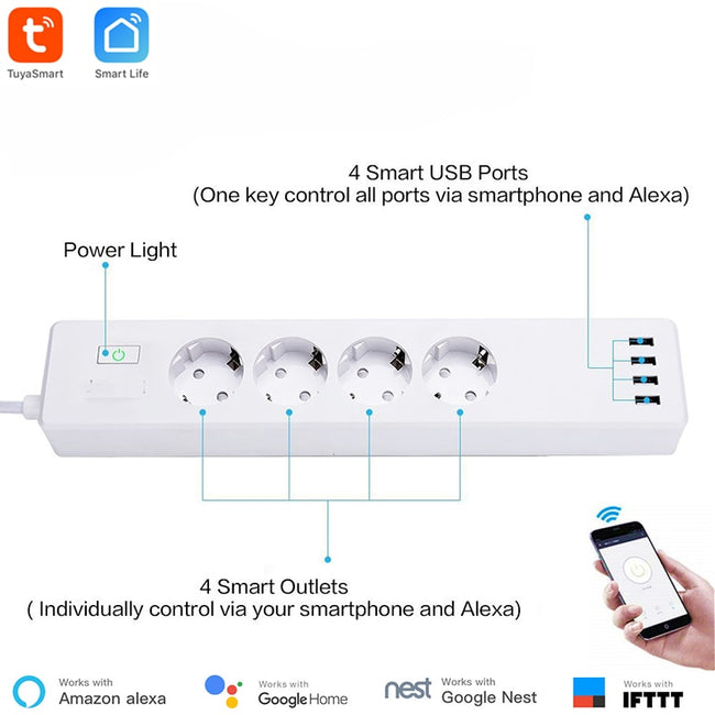 Smart WiFi Power Strip Tuya Smart App Control Type F 4 Outlets 4 USB Ports Individually - geex-shop