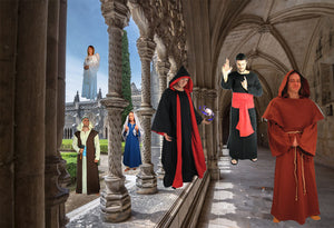 Religious and spiritual clothing. Monk robe, stoles, cowls, pagan robes, pagan costumes, ritual robes, ritual, biblical costumes, vacation bible camp costumes, friar costume, friar tuck, wizard robes, harry potter robes, jedi robes.