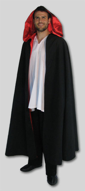 Black cloak lined in red satin - In stock Ready to Ship