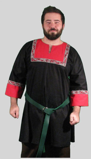 T-tunic Black and Red with Red Celtic Dog Trim