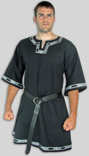 Black T-Tunic with Celtic Knot Trim