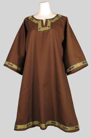 Brown T-Tunic with Celtic Knot Trim