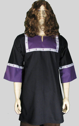 T-tunic Black and Purple with Purple Celtic Trim