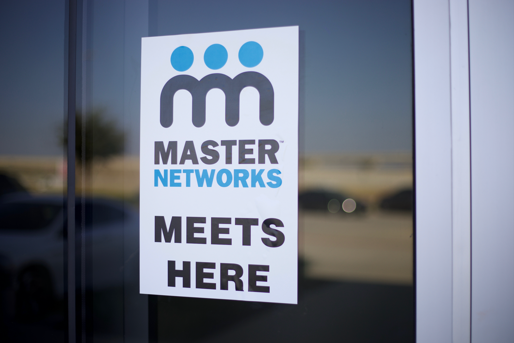 Master Networks Meets Here Window Sticker