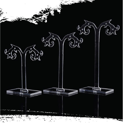 Transparent Acrylic Jewelry Stand with Stud holes - 3 pc set