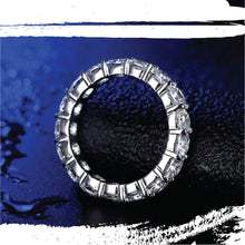 Load image into Gallery viewer, Platinum Plated Silver Cushion Cut Sona Diamond Eternity Ring